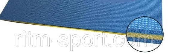 Мат для фитнеса Пенополиэтилен 25мм C-3749 (р-р 1,4 м *1,0 м *2,5 см, синий-желтый-синий)