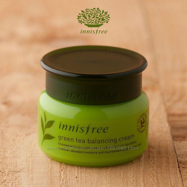 Увлажняющий крем с зеленым чаем для комби и норм кожи Innisfree balancing