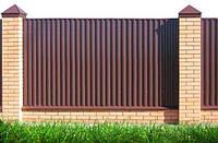 Забор из профнастила 0,45 мм, 0,5 мм крашенный, цветной, под дерево