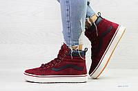 Зимние спортивные женские кроссовки в стиле Vans, бордовые