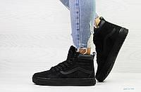Зимние спортивные женские кроссовки в стиле Vans, черные
