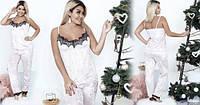 Бархатная велюровая женская пижама брюки штаны майка с кружевом батал больших размеров пудра 48-50 52-54