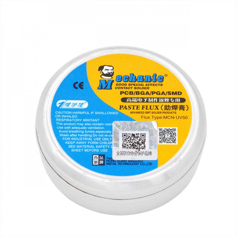 Флюс-паста MCN-UV50 MECHANIC для пайки SMD компонентов и навесного монтажа, 40g