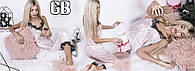 Бархатная велюровая женская пижама брюки маечка с кружевом норма и батал бежевая SM ML 48-50 50-52, фото 1