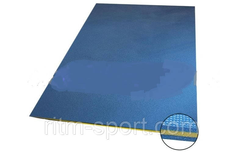 Мат для фитнеса Пенополиэтилен 25мм  (р-р 2 м *1,0 м *2,5 см, синий-желтый-синий)