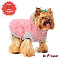 Жилет для собак зимний БОНЖУР Pet Fashion двухсторонний с капюшоном пудра/серый