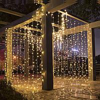 Штора уличная, занавес  2х2м 240 led, прозрачный провод, цвет тепло-белый - декоративная гирлянда