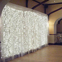 Штора уличная, занавес  2х2м 360 led, прозрачный провод, цвет белый холодный - декоративная гирлянда
