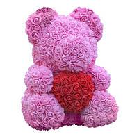 Мишка из роз с сердцем. Высота мишки 40 см.