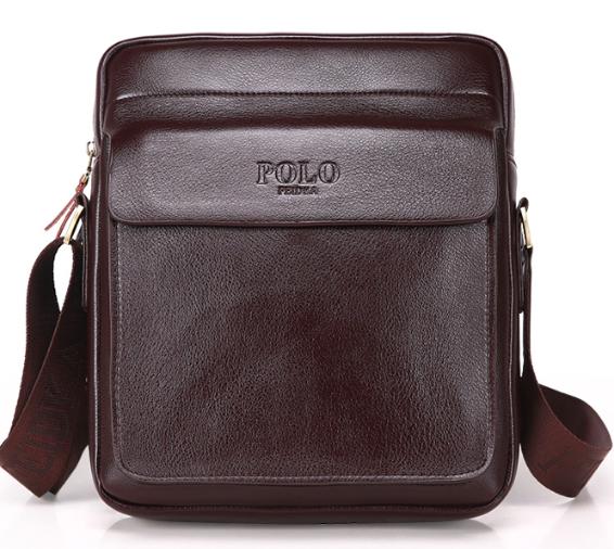 Чоловіча сумка барсетка шкіра Polo Feidika великого розміру Коричневий