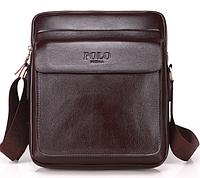Мужская сумка барсетка кожа Polo Feidika большого размера Коричневый
