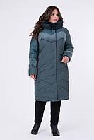 Зимнее стеганое пальто с велюровыми вставками, размеры 50 54