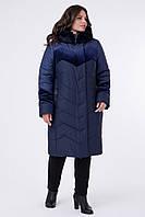 Зимнее стеганое пальто с велюровыми вставками, размеры 50 52