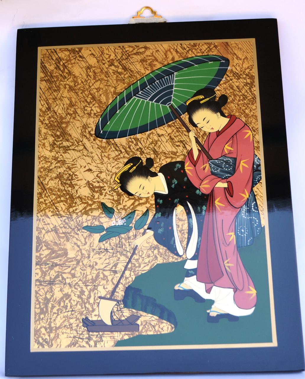Картина эмаль (женщины запускают кораблик)
