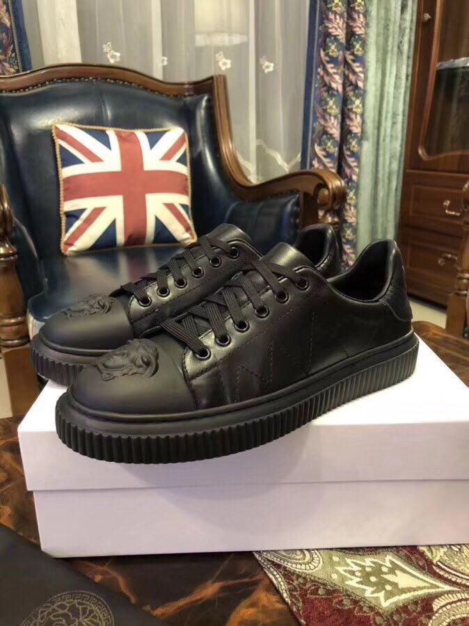 Мужские кроссовки Versace натуральная кожа черные.Купить в Украине!Новинка!