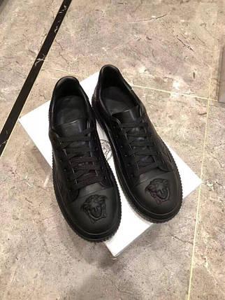 Мужские кроссовки Versace натуральная кожа черные.Купить в Украине!Новинка!, фото 2