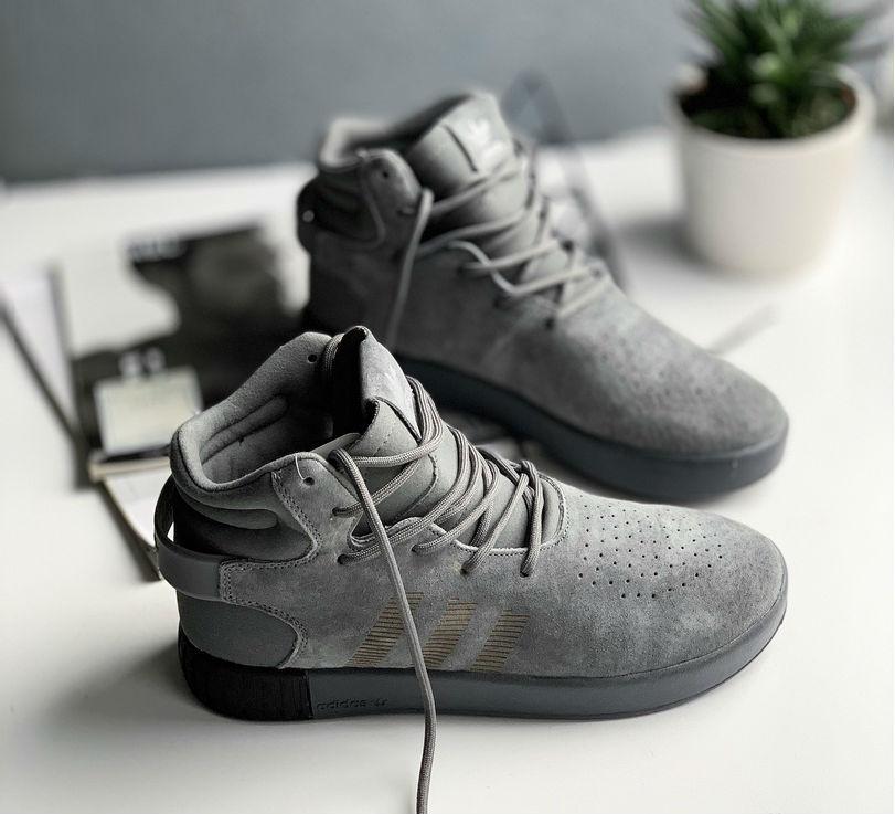 b63d9cc8 Adidas Tubular Invader Onix / Grey | кроссовки мужские; высокие; серые;  замшевые;