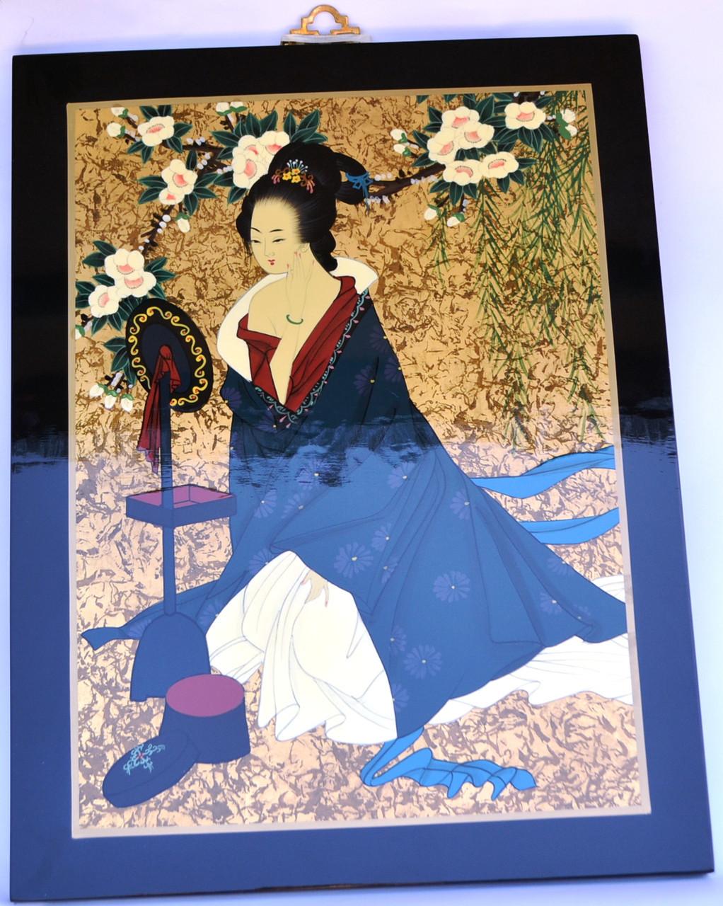 Картина эмаль (женщина с зеркалом)