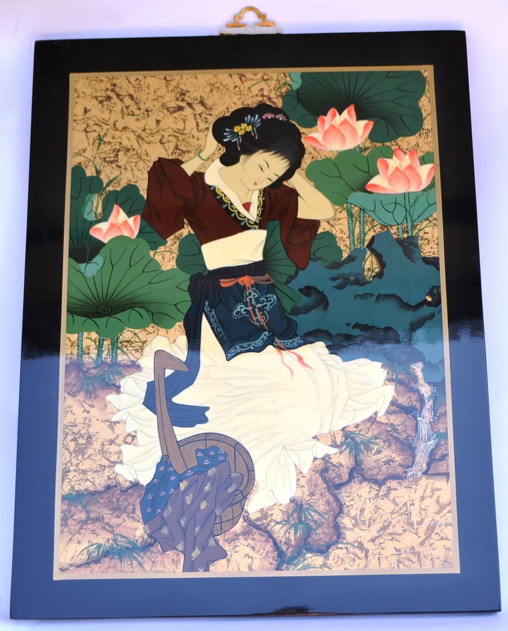 Картина эмаль (женщина лилии)