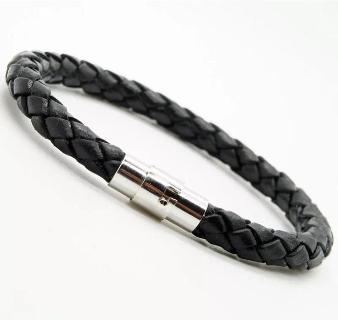 Плетёный наручный браслет «Ancient» с металической застежкой (черный)