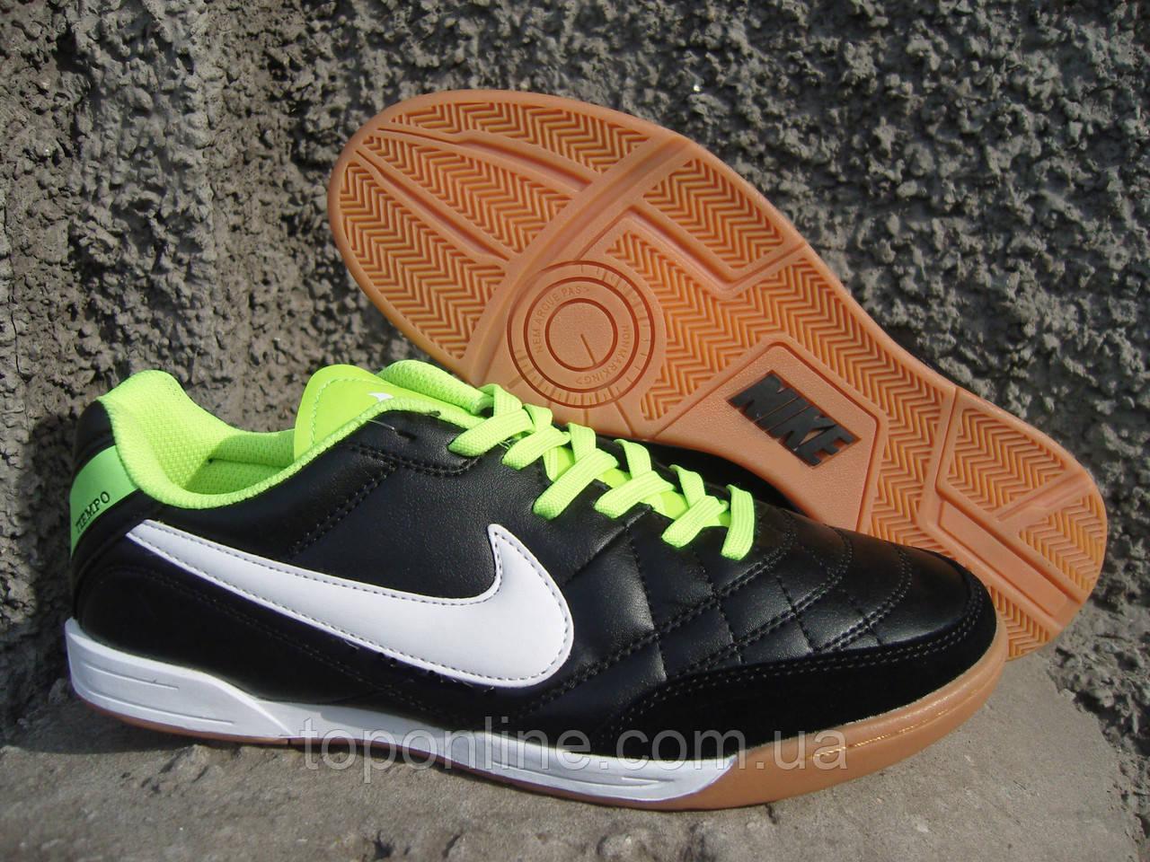 Кроссовки для футбола (футзал) Nike Tiempo Mystic IV IC черно-салатовые 06265d75c87