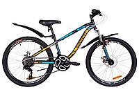 """Велосипед подростковый 24"""" Discovery FLINT AM DD 2019 (черно-синий с оранжевым (м))"""