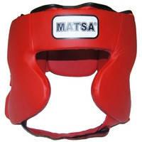 Шлем боксерский  MATSA (искусственная кожа, красный), фото 3