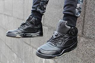 """Кроссовки мужские Air Jordan 5 """"Flight Jacket"""" Features Premium Black Leather / 881432-010 (Реплика)"""