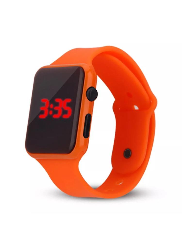 """LED наручные часы """"NovaSQ"""" с оранжевым браслетом из каучука"""