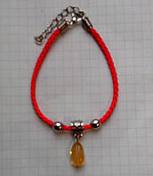 Красная нить оберег 100% натуральный камень Цитрин галтовка 8-10 мм