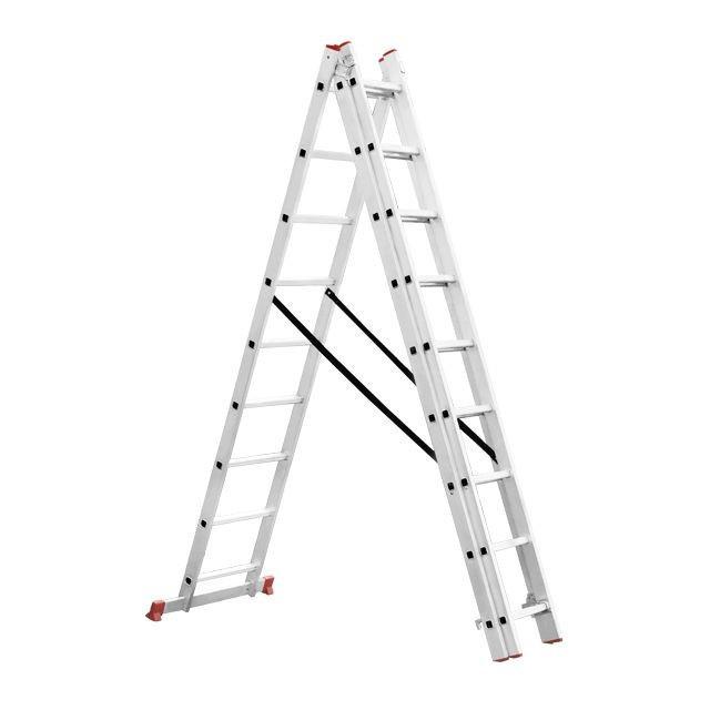 Драбина алюмінієва 3-х секційна універсальна розкладна 3x9 ступ. 5,93 м INTERTOOL LT-0309