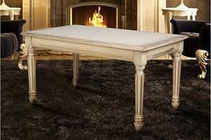 Класичний журнальний столик з масиву ясеня-Готика (слонова кістка,горіх)
