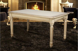 Классический журнальный столик из массива ясеня -Готика (слоновая кость,орех)