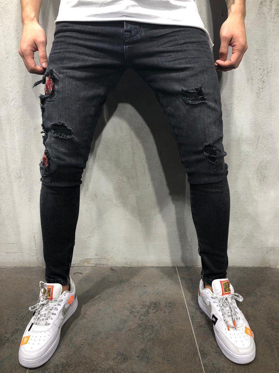 Джинсы мужские черные рваные с заплатками