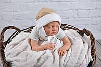 Плюшевая шапочка для новорожденного, коричневого цвета