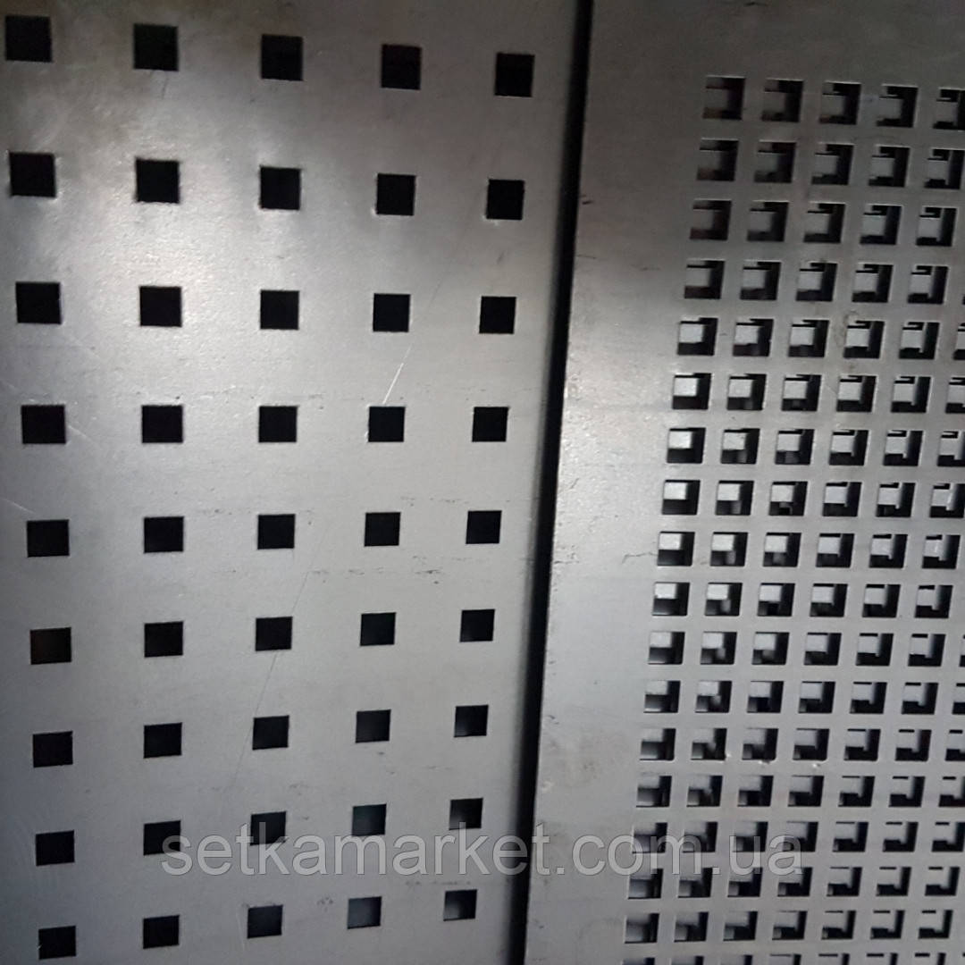 Перфорований Лист (Полотно решетное), чорний метал, товщина 1.0, осередок 8х8 мм (крок 24 мм)