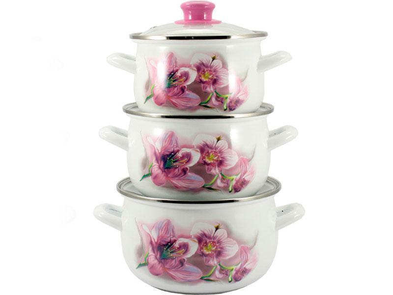 Набор кастрюль эмалированных 3 шт Pink Орхидея 5/L