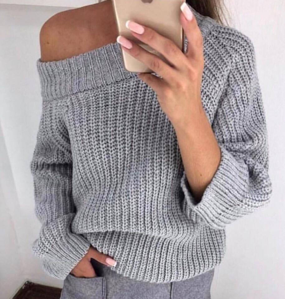 Теплый женский вязаный свитер свободного кроя 6804454