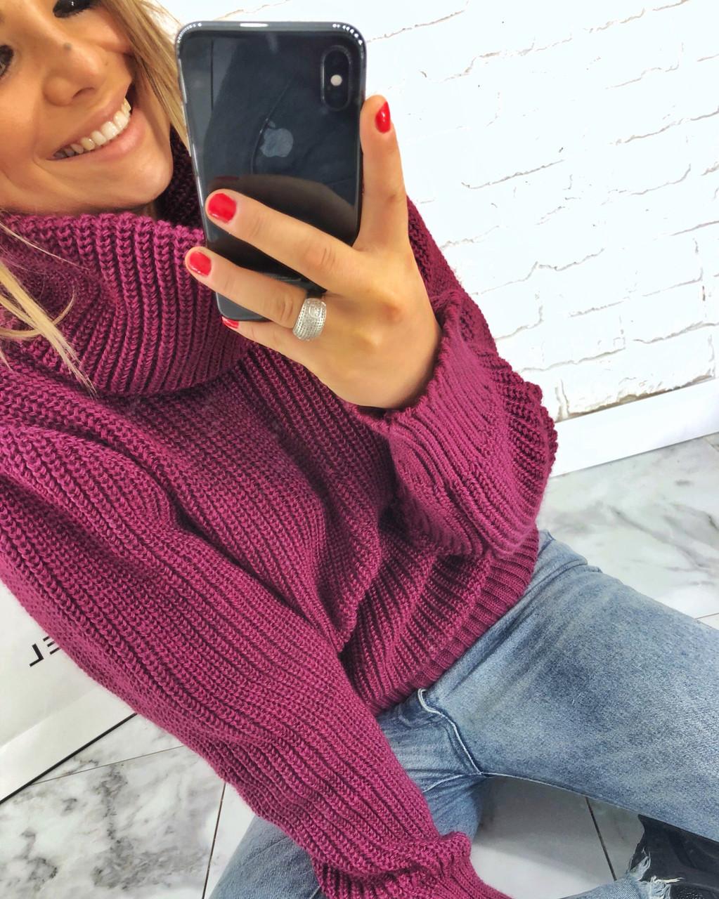 Теплый женский свитер свободный с горловиной 304458