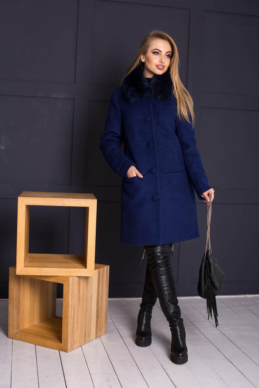 6237a72a121 Утепленное зимнее пальто из шерсти с мехом 6402153 - Интернет-магазин одежды
