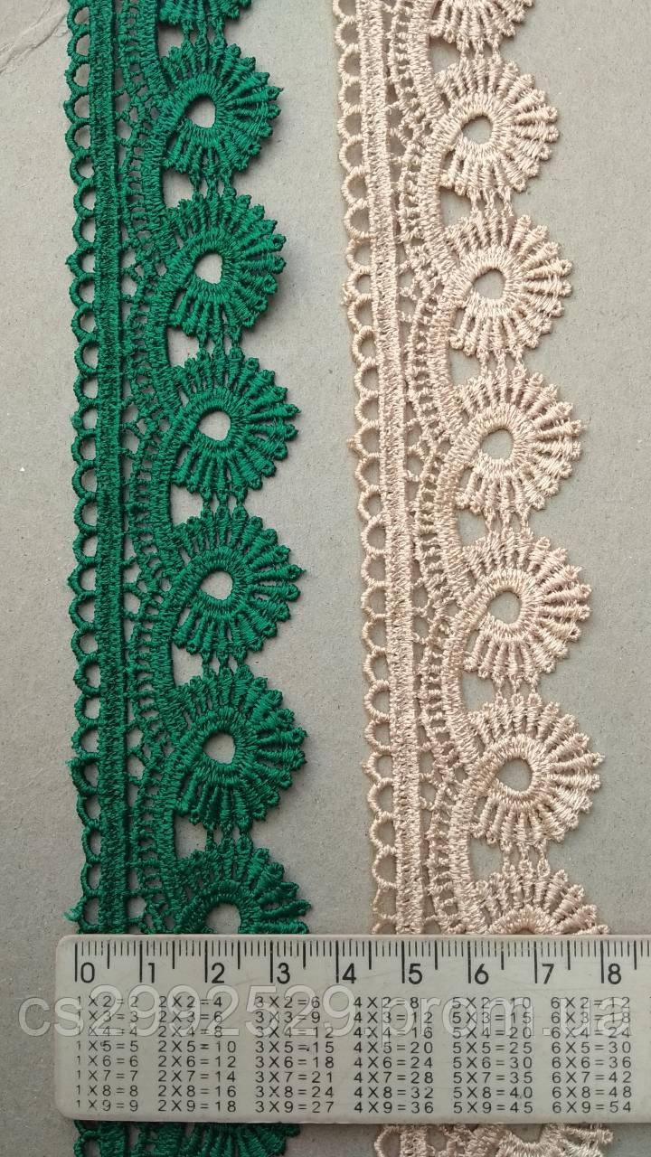 Кружево плетенка зеленый