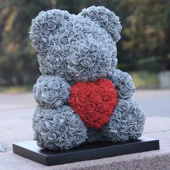 Подарочный Медведь 3D дымный серый с красный сердечком из искусственных роз мишка «Teddy Bear» 25 см