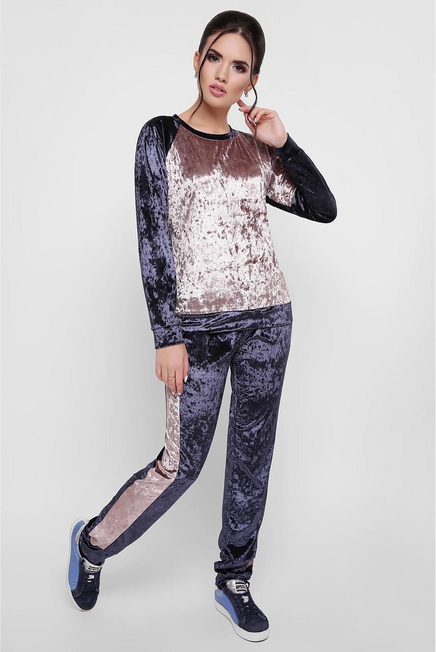 9d13b82bf268 Велюровый спортивный костюм двухцветный со спущенным плечом 4705519 -  Интернет-магазин одежды