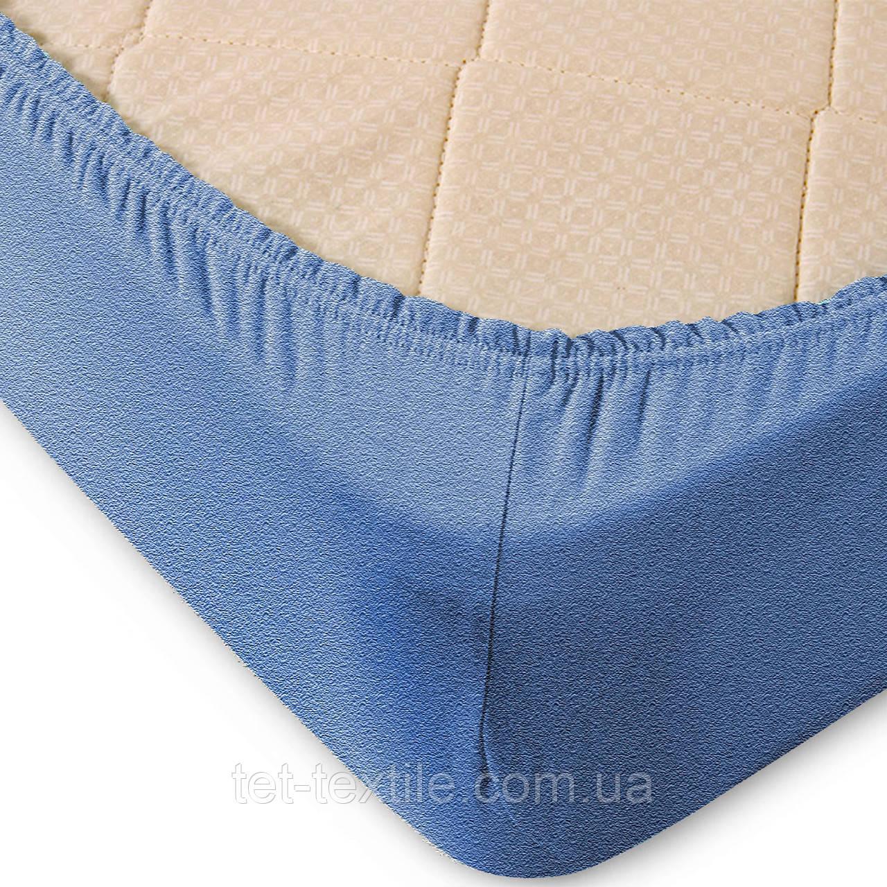 Простынь махровая на резинке Sweet Dreams голубой 180х200+30