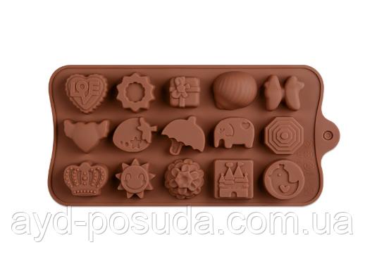 """Силиконовая форма для конфет """"Ассорти"""" JSC-2778  арт. 822-9-19"""