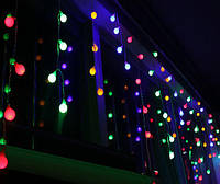 Разноцветная Гирлянда Шарики Штора - Бахрома на черном проводе 3 x 0,55м 75 LED мультиколор, занавес Плей Лайт, фото 1