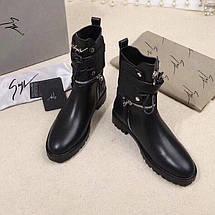 Женские кожаные осенние ботинки Giuseppe Zanotti черные , фото 3