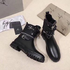 Женские кожаные осенние ботинки Giuseppe Zanotti черные