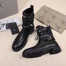 Женские кожаные осенние ботинки Giuseppe Zanotti черные , фото 2