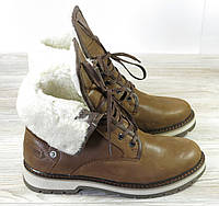 Зимние мужские ботинки Тимберланды на овчине коричневые, фото 1